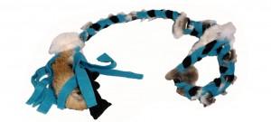 FLEECE ZERGEL - 100 cm mit Schlaufe Blau/Schwarz mit Fell
