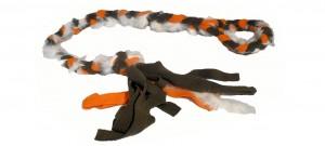 FLEECE ZERGEL - 100 cm mit Schlaufe Khaki/Orange mit Fell