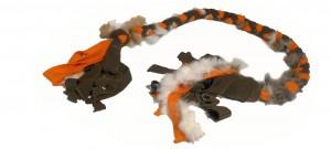FLEECE ZERGEL - 130 cm Khaki/Orange mit Fell