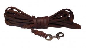 Fettlederleine  8 mm breit, 10,0 m lang ohne Schlaufe braun mit Edelstahlbolzenhaken