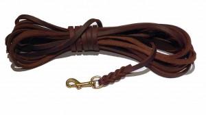 Fettlederleine  8 mm breit, 10,0 m lang ohne Schlaufe braun mit Messingbolzenhaken