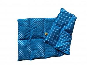 Körnerkissen mit Rapsfüllung groß Blau / Weiße Punkte 57x26 cm