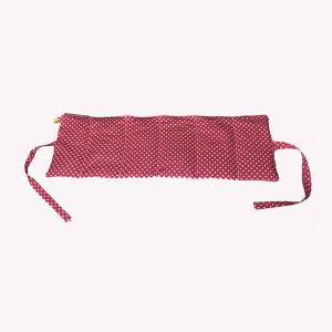 Körnerkissen mit Rapsfüllung mittel Pink/Punkte mit Band 59x20cm