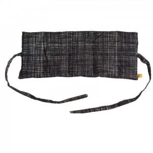 Körnerkissen mit Rapsfüllung mittel Schwarz/weiß mit Band 46x19cm